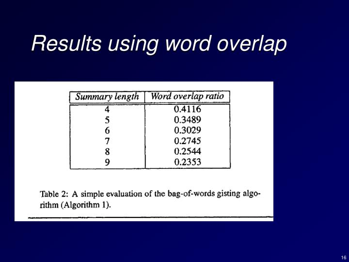 Results using word overlap