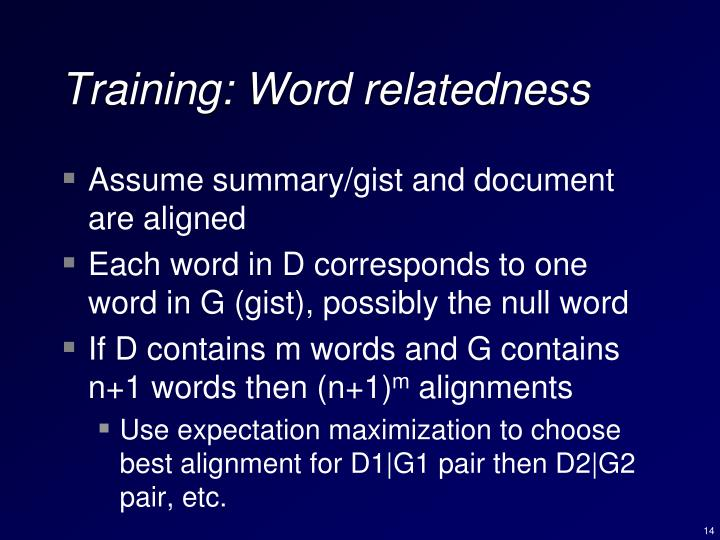 Training: Word relatedness