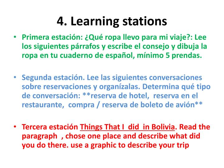 4 learning stations