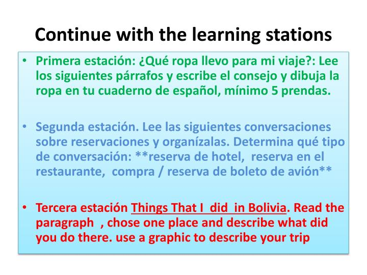 Continue with the learning stations