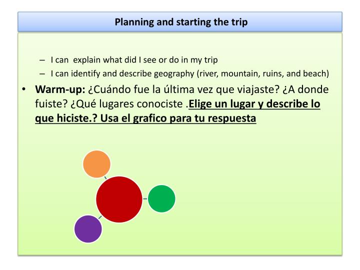 Planning and starting the trip