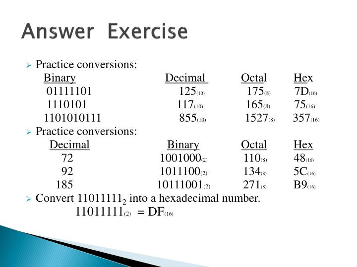Answer  Exercise