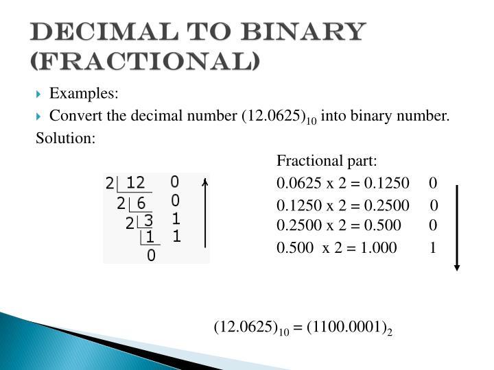 Decimal to binary (fractional)