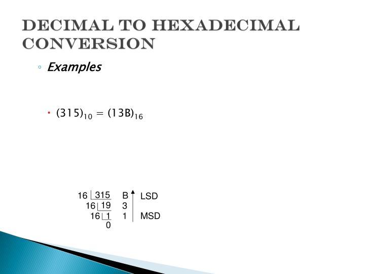 Decimal to Hexadecimal Conversion