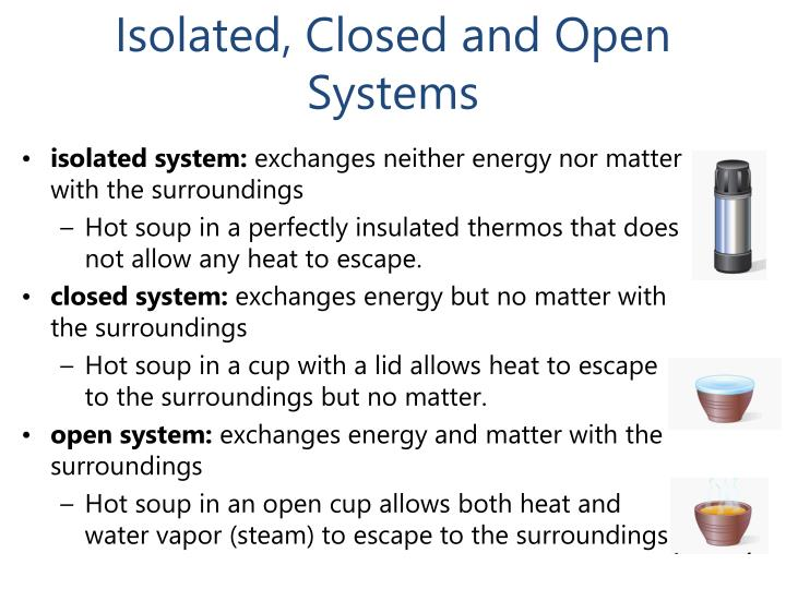 Isolated, Closed and Open Systems