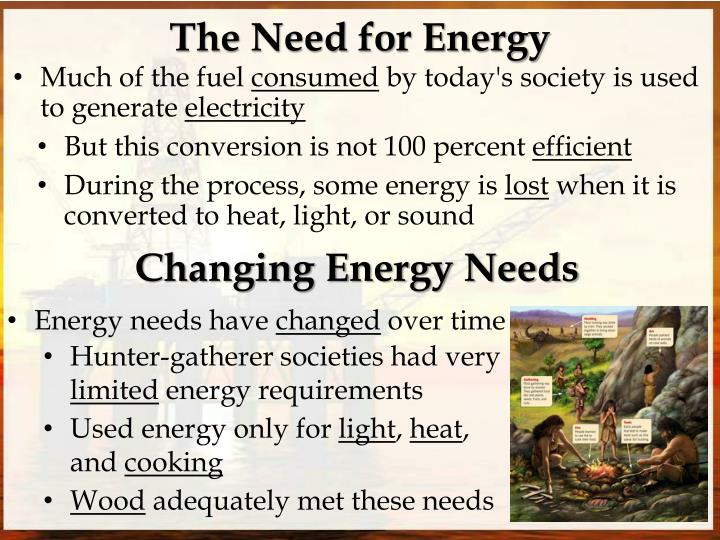The Need for Energy