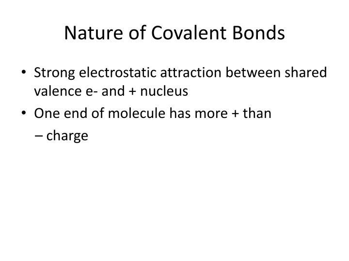 Nature of Covalent Bonds