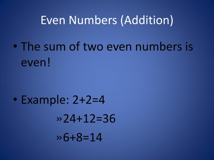 Even numbers addition