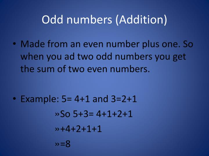 Odd numbers (Addition)