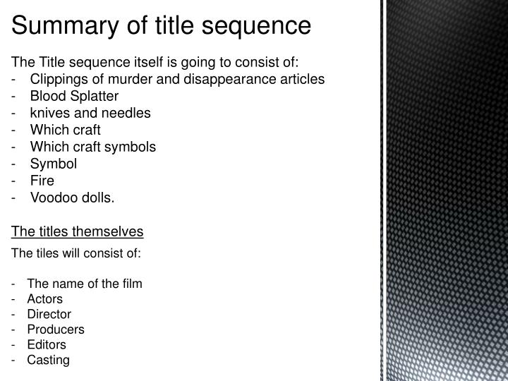 Summary of title sequence
