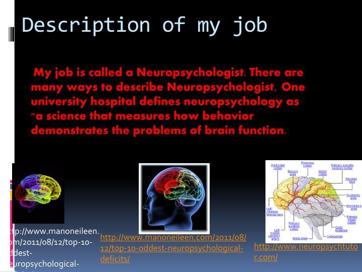 Description of my job
