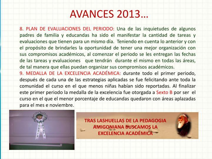 AVANCES 2013…