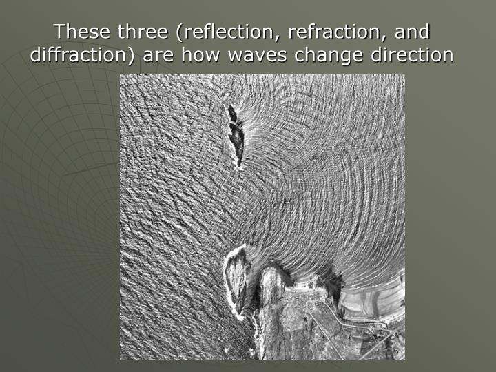 These three (reflection, refraction, and diffraction) are how waves change direction
