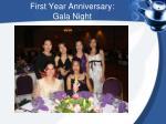 first year anniversary gala night