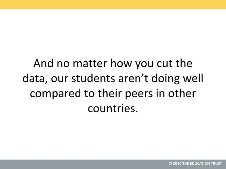 And no matter how you cut the data, our students aren't doing well compared to their peers in other countries.
