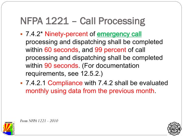 NFPA 1221 – Call Processing