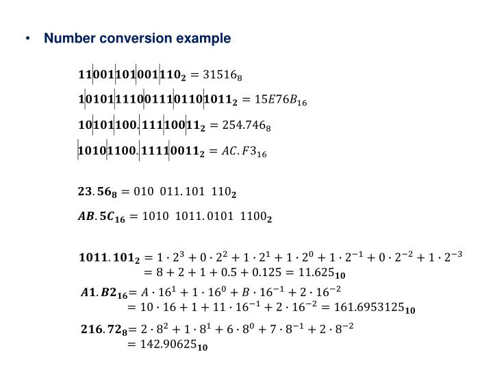 Number conversion example