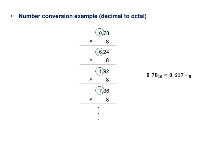 Number conversion example (decimal to octal)
