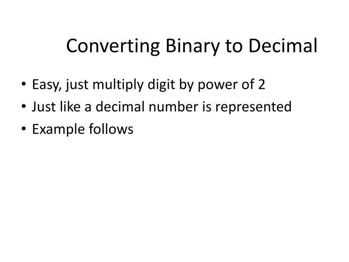 Converting Binary to Decimal