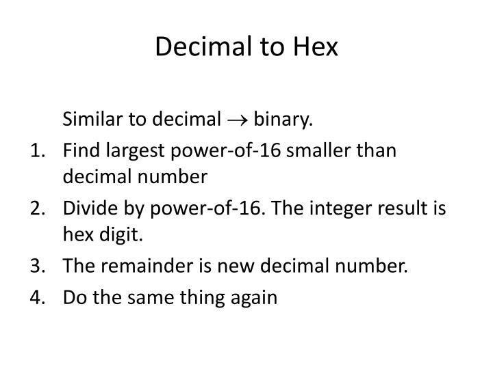 Decimal to Hex