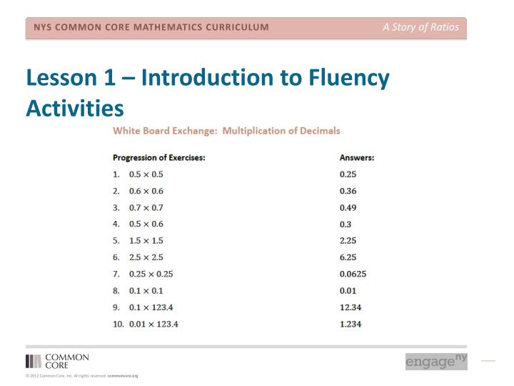 Lesson 1 – Introduction to Fluency Activities