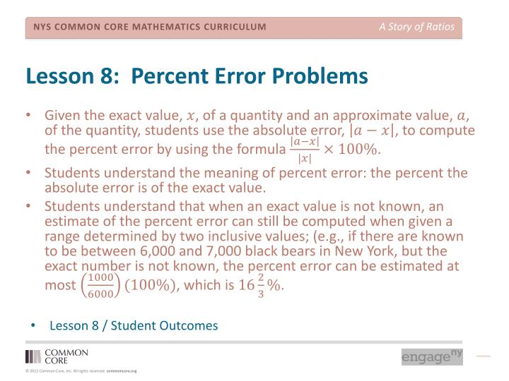 Lesson 8:  Percent Error Problems