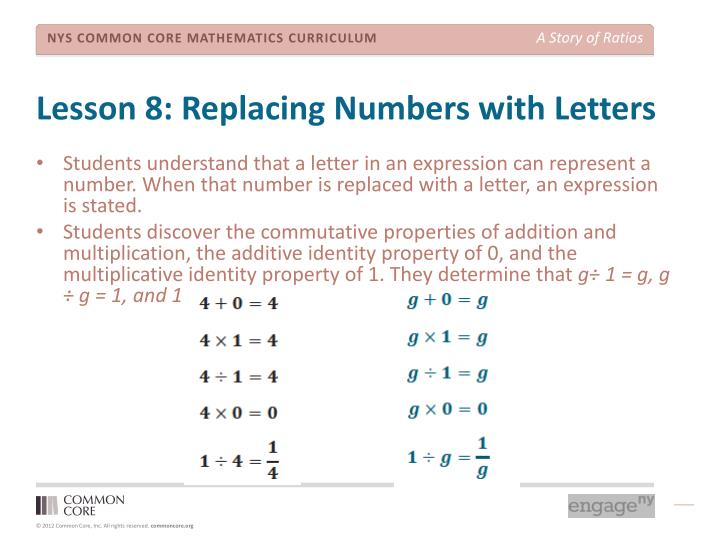Lesson 8: Replacing Numbers with Letters