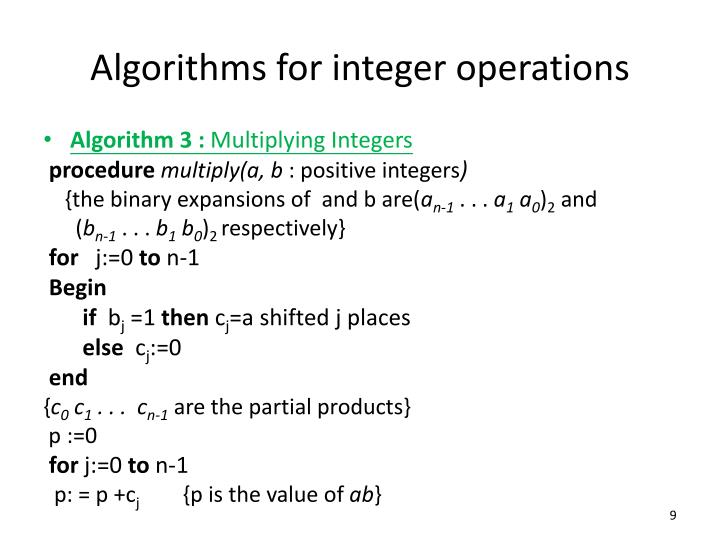 Algorithms for integer operations