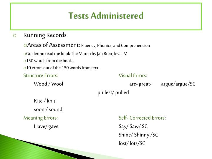 Tests Administered