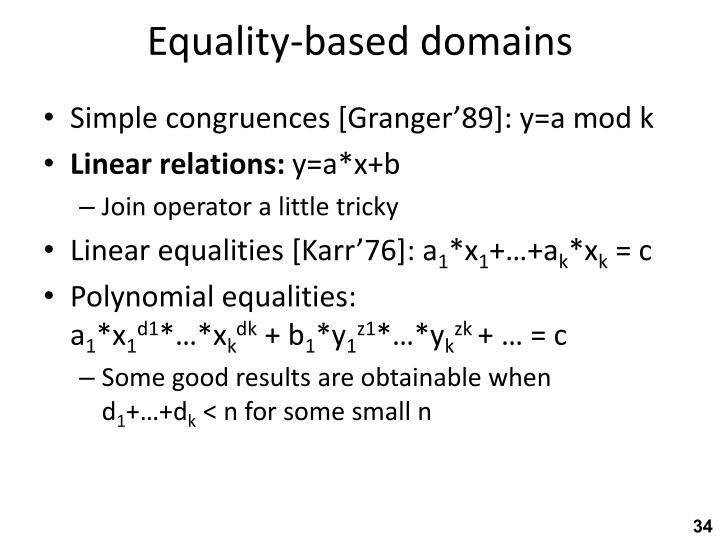 Equality-based domains