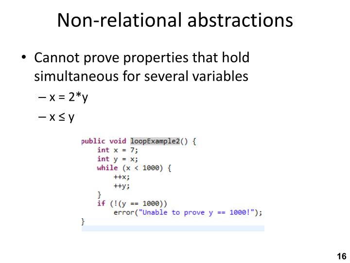 Non-relational abstractions
