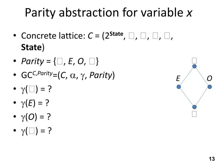 Parity abstraction for variable