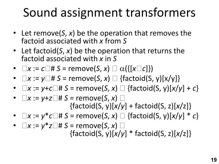 Sound assignment transformers