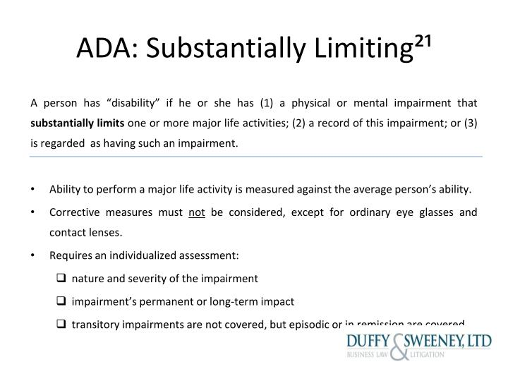 ADA: Substantially Limiting²¹