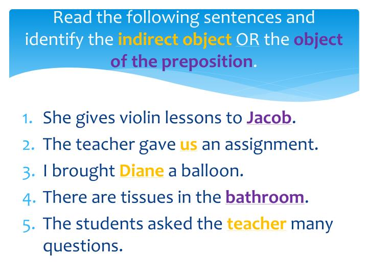 Read the following sentences and identify the