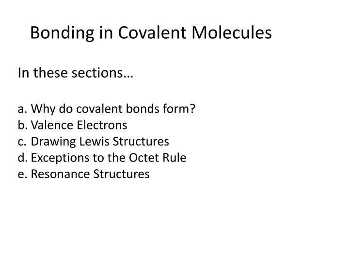 Bonding in covalent molecules
