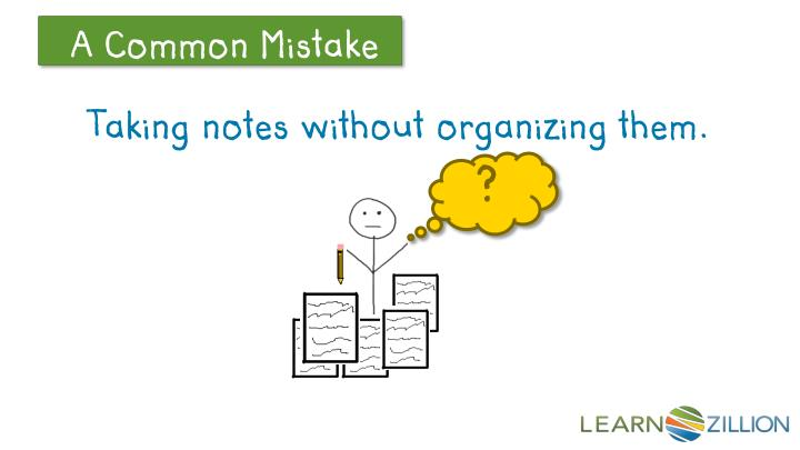 Taking notes without organizing them.