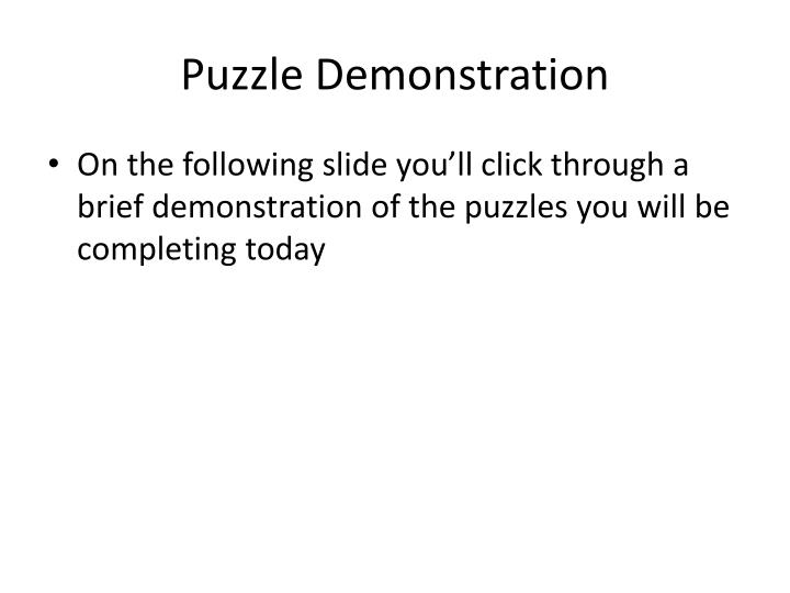 Puzzle Demonstration