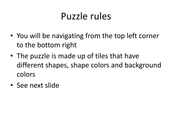 Puzzle rules