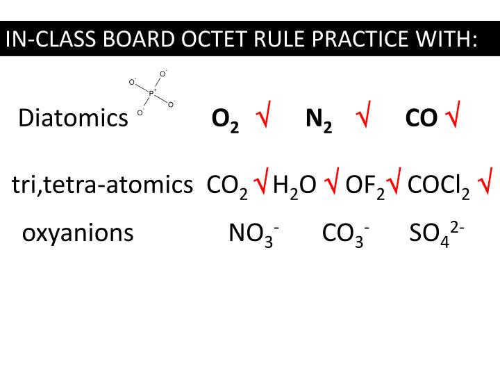 IN-CLASS BOARD OCTET RULE PRACTICE WITH: