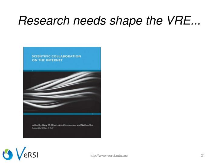 Research needs shape the VRE...