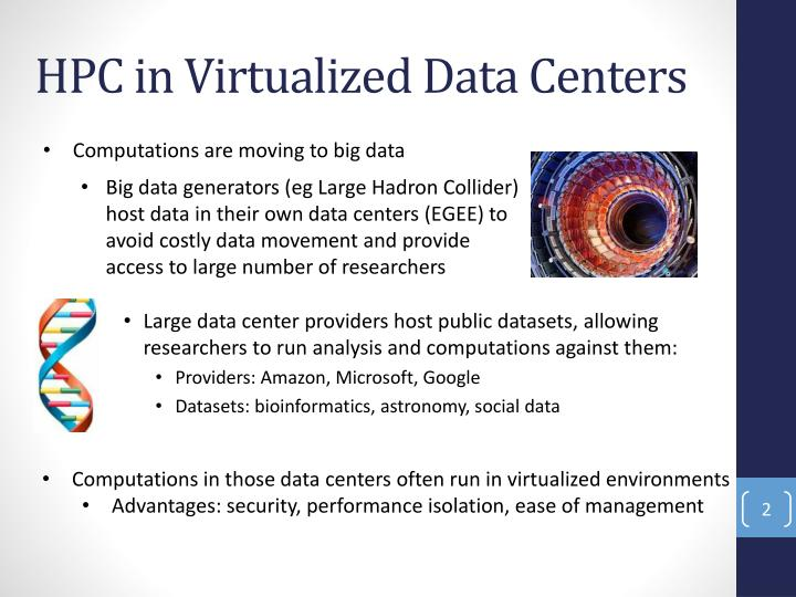 Hpc in virtualized data centers