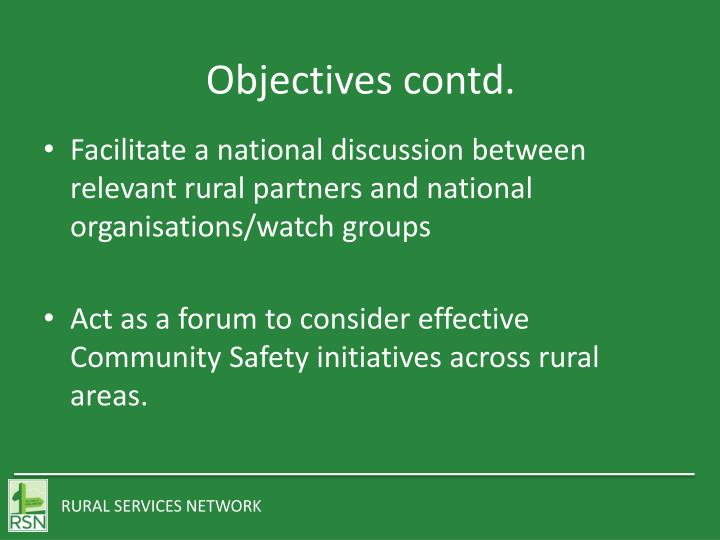 Objectives contd.