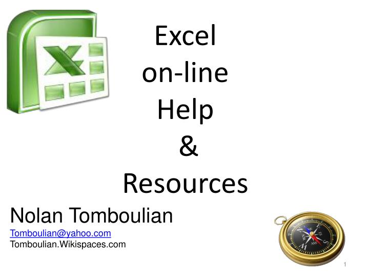 Excel on line help resources