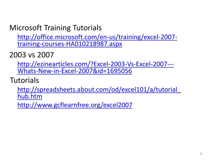 Microsoft Training Tutorials