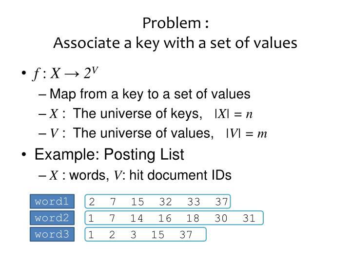 Problem a ssociate a key with a set of values