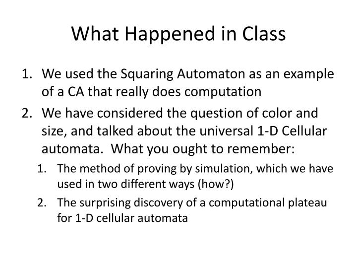 What Happened in Class