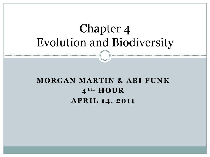 chapter 4 evolution and biodiversity n.