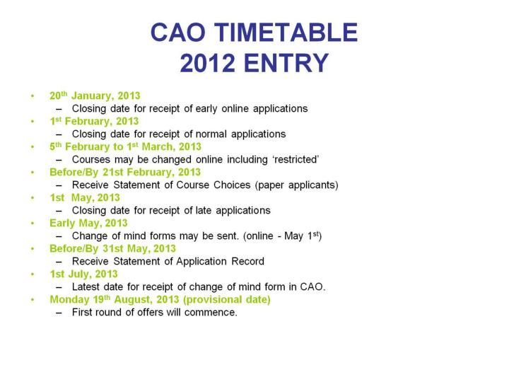 CAO TIMETABLE