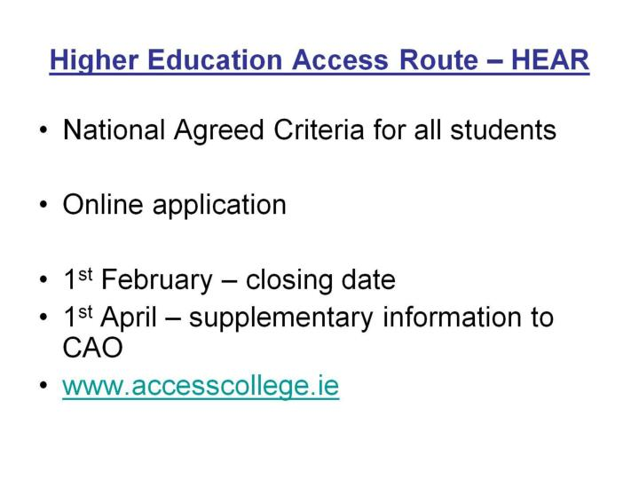 Higher Education Access Route – HEAR